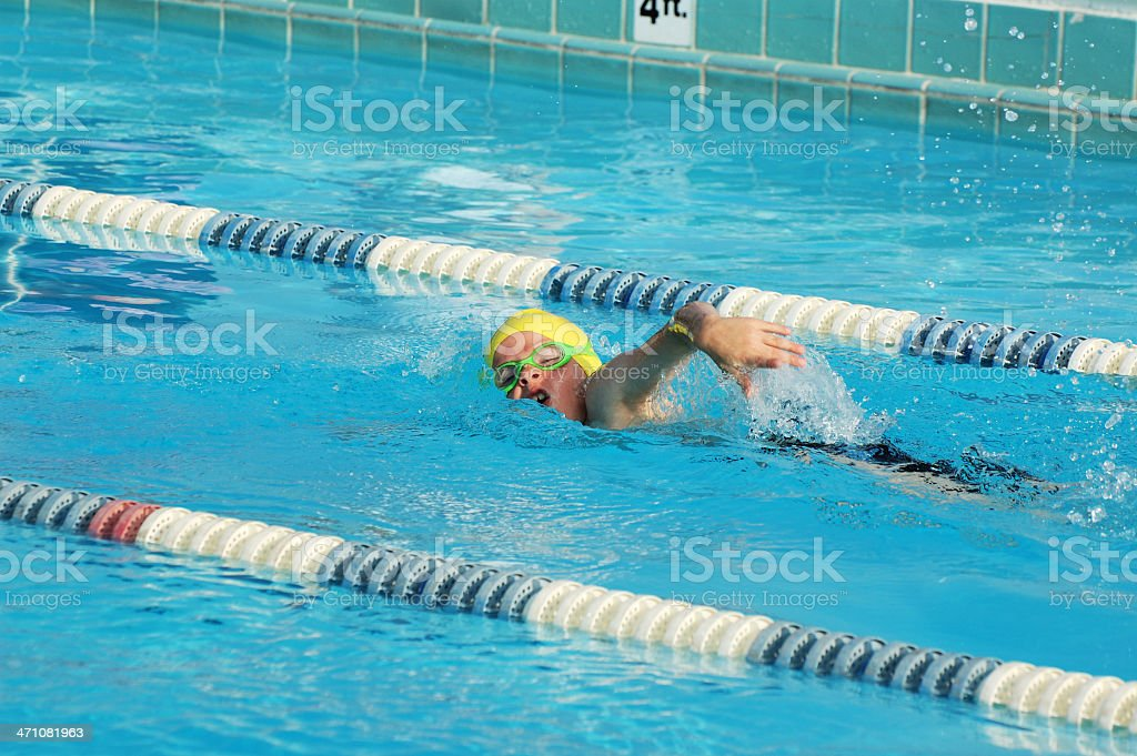 Young Boy Freestyle Swimmer stock photo