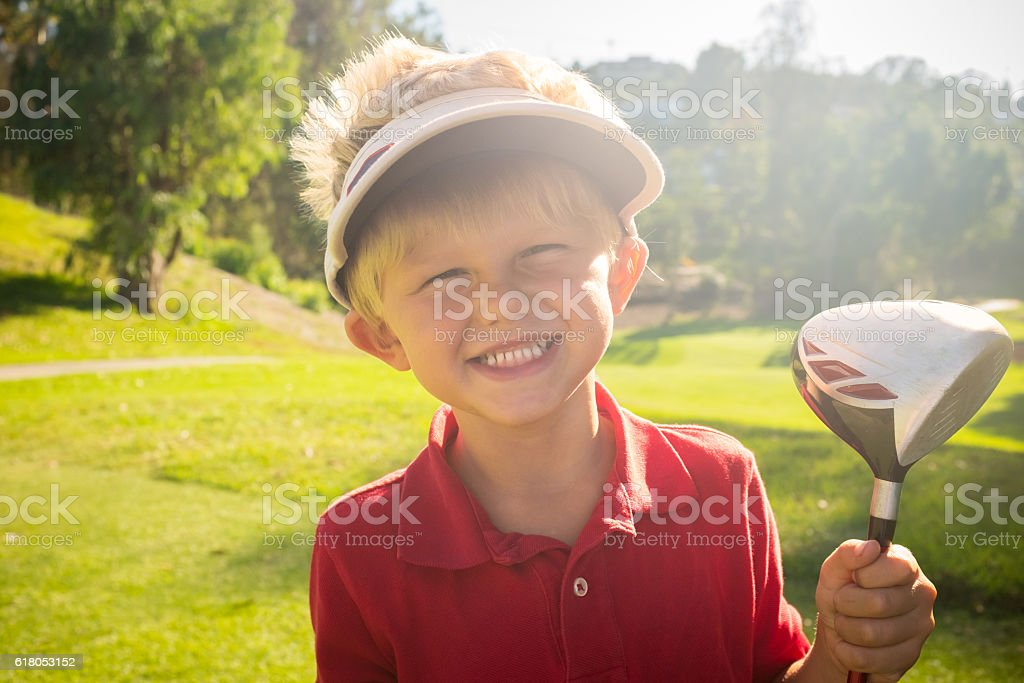 Young Boy Golfer Smiling stock photo