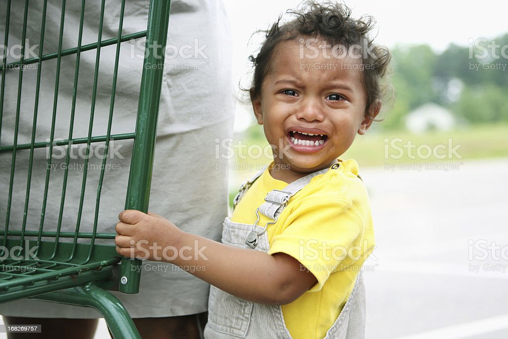 Young boy having a temper tantrum stock photo