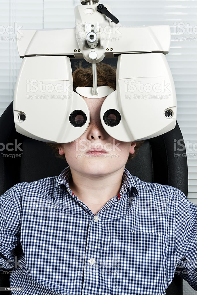 Young Boy Having His Eyesight Checked. royalty-free stock photo