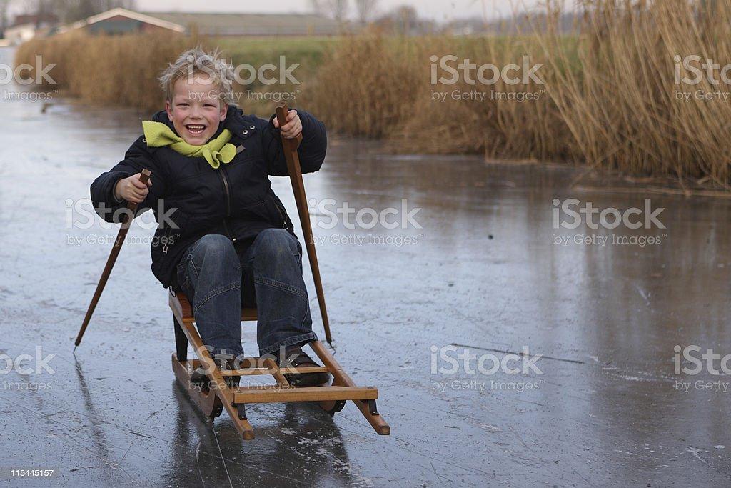 Young Boy Ice Fun royalty-free stock photo