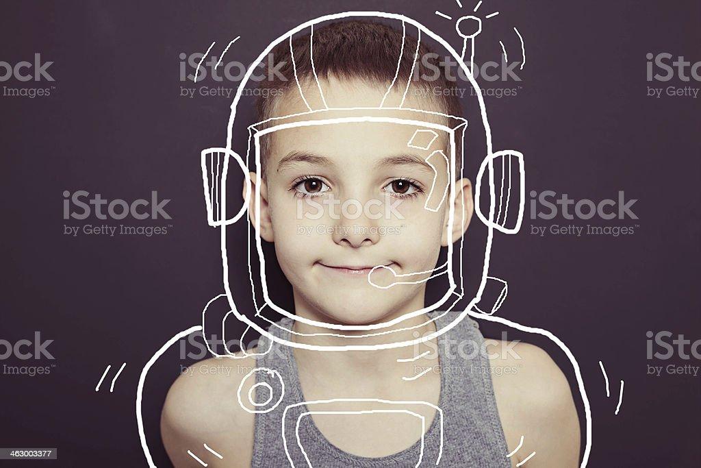 Young Boy Imagination Astronaut stock photo
