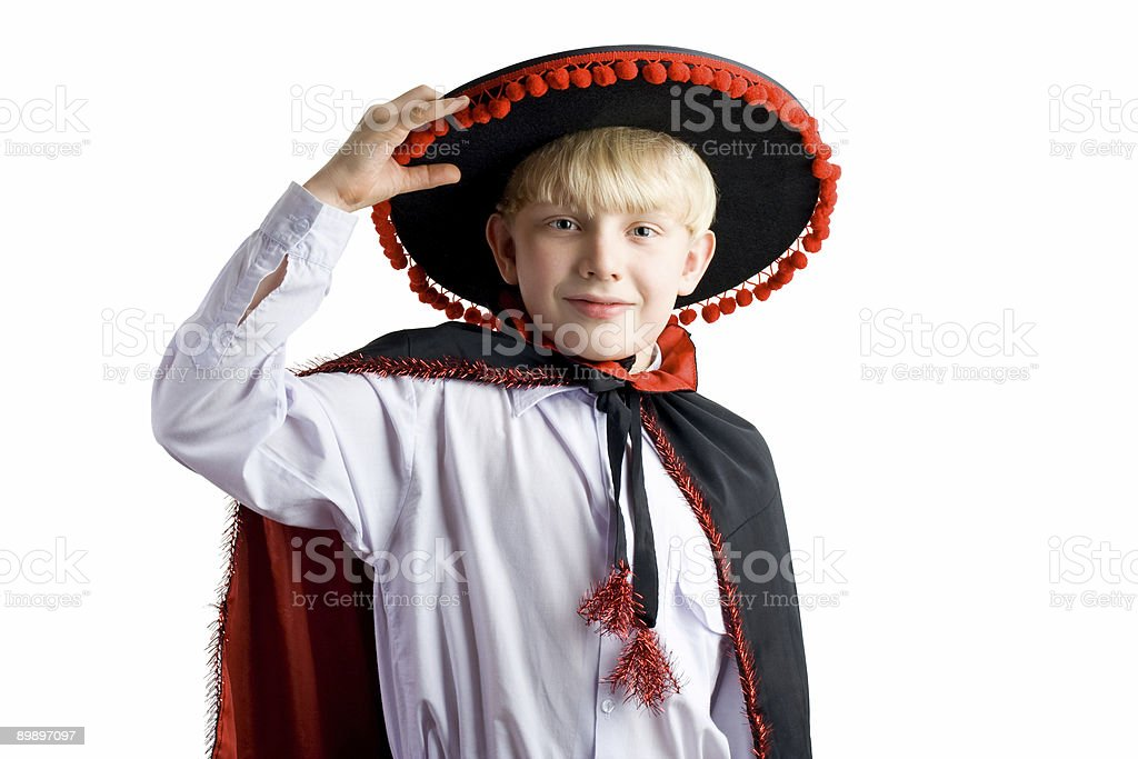 Young boy in mexican hat royalty-free stock photo