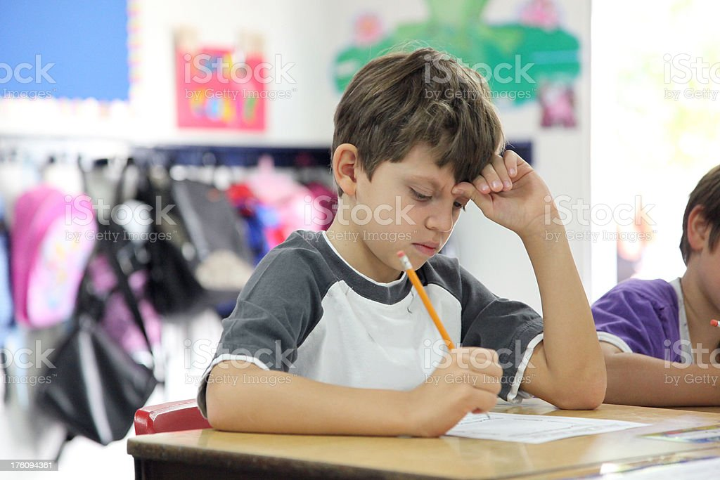 Young Boy in School stock photo