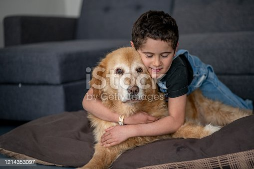 A young boy lays on the floor with his golden retriever dog.  Both the dog and the young boy are enjoying the cuddle time.