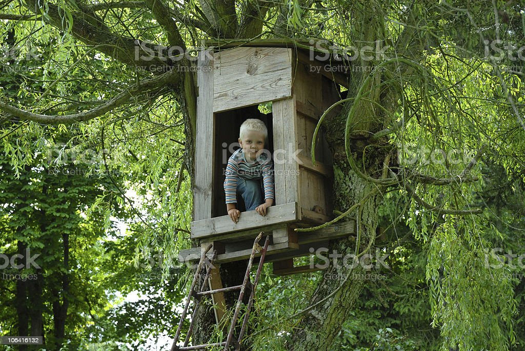 young boy looking out from a tree hut stock photo