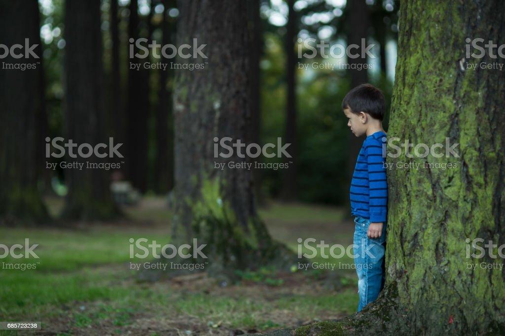 분실 하 고 혼자 숲에서 어린 소년 royalty-free 스톡 사진