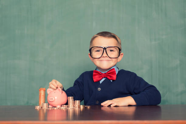 Young Boy Nerd Saves Money