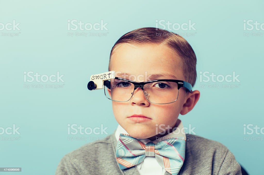 Young Boy Nerd Wearing Smart Glasses stock photo