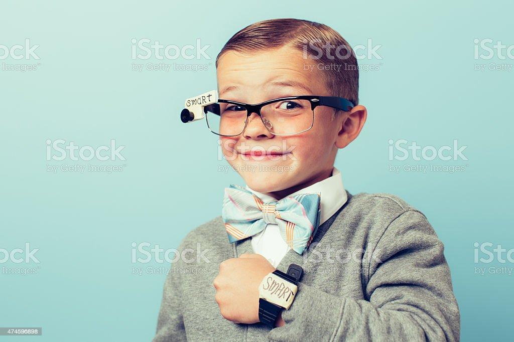 Young Boy Nerd wearing Smart Technology stock photo