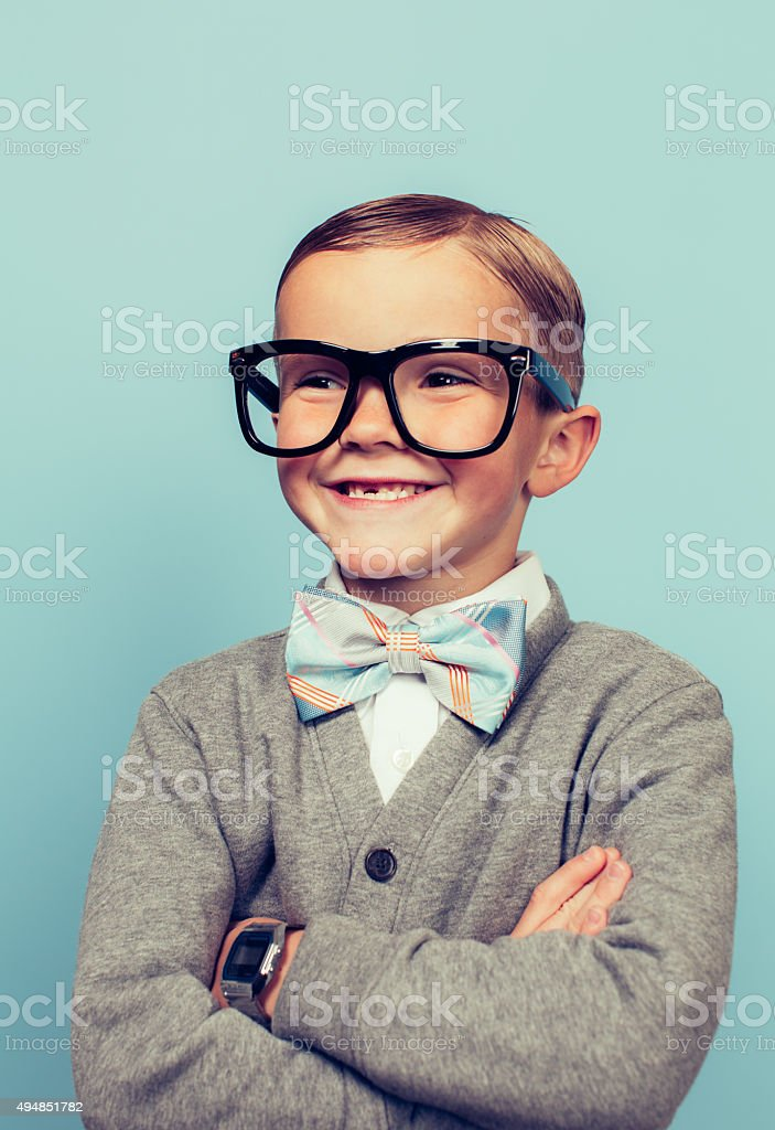 Young Boy Nerd with Big Smile stock photo