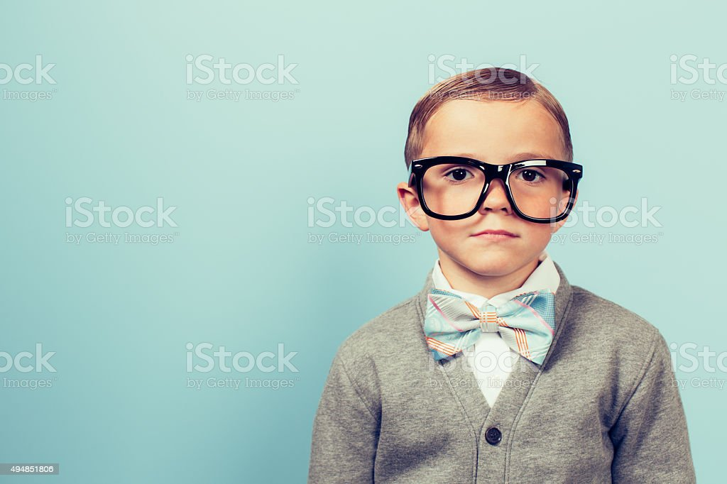 Young Boy Nerd with Blank Expression stock photo