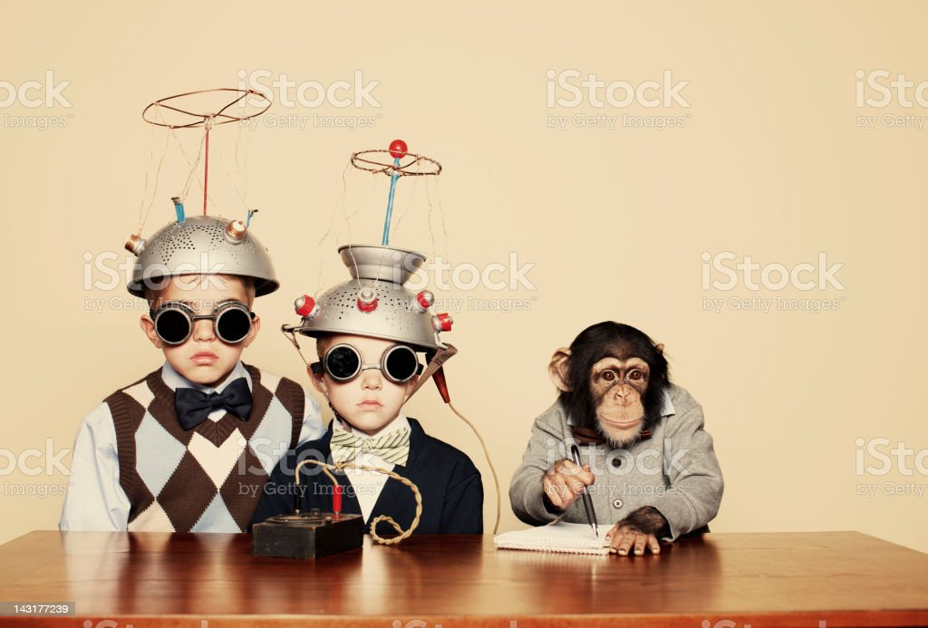 Young Boy Nerds Do Experiment with Chimpanzee stock photo