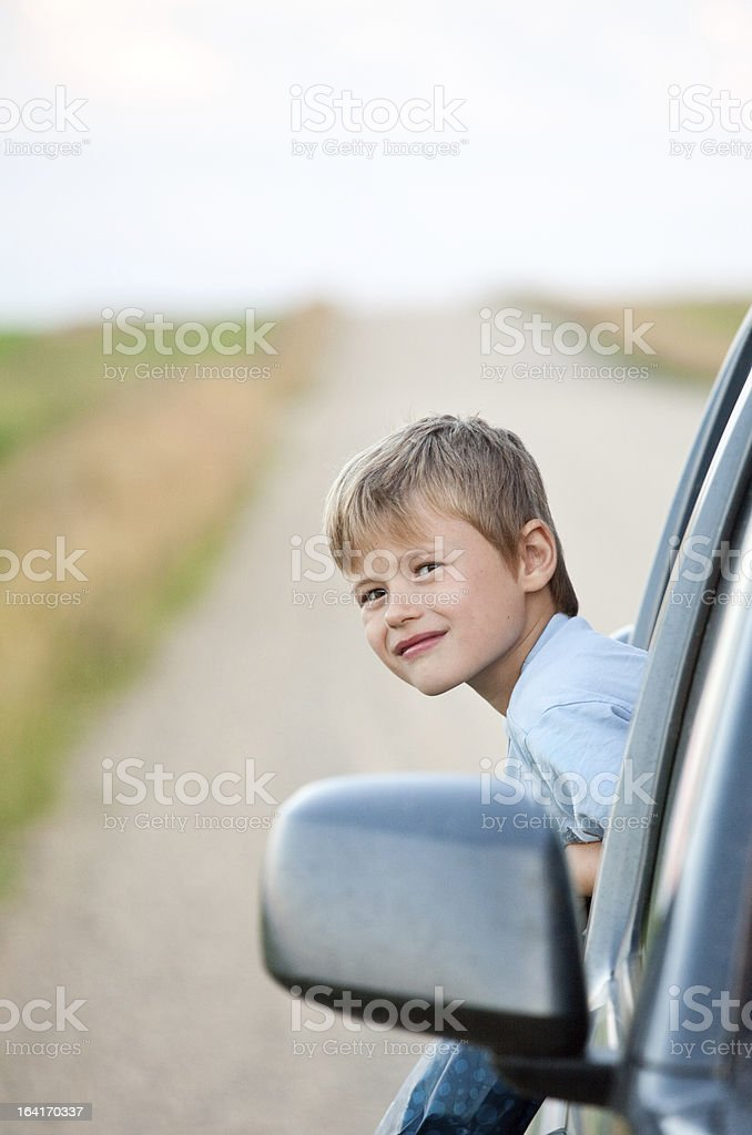 Young Boy on Road Trip royalty-free stock photo