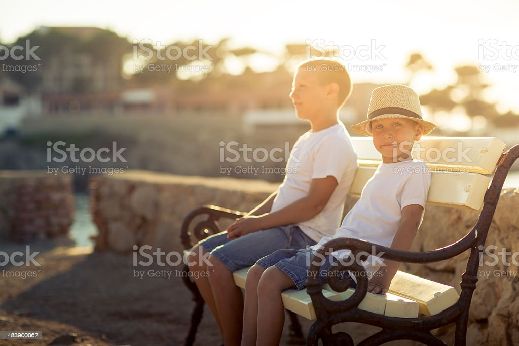 Young boy on the summer brake stock photo