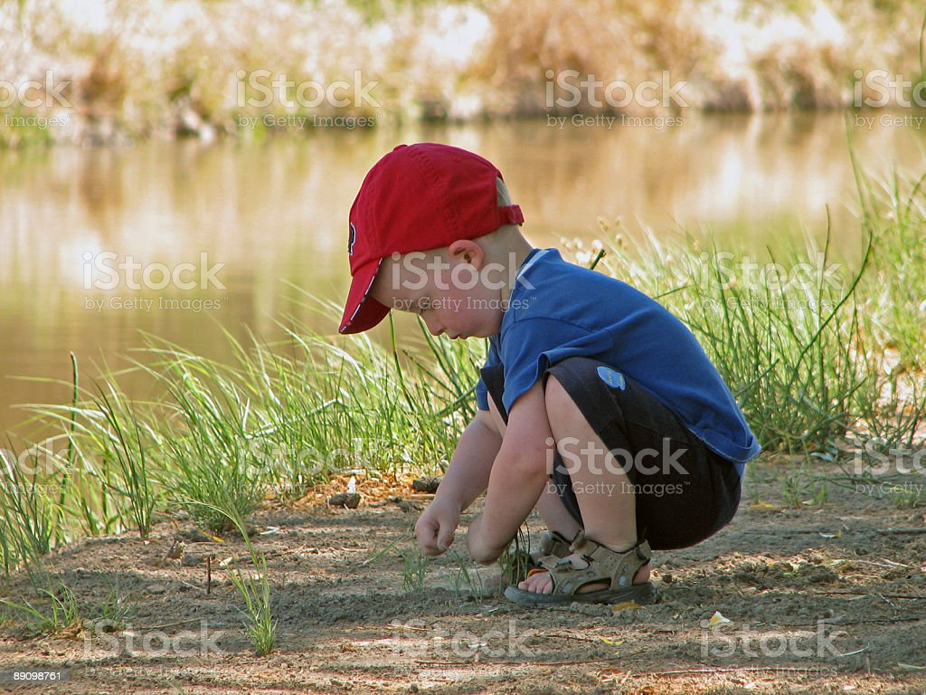 Young Boy Picking Up Rocks Near Water royalty-free stock photo