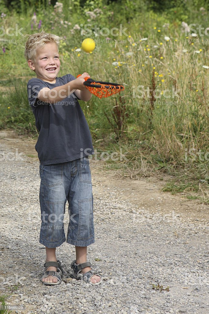 Young Boy Playing Catch royalty-free stock photo