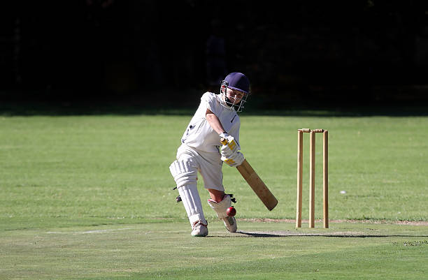Young boy playing クリケットショット ストックフォト