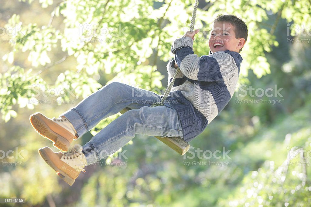 Young Boy Playing on Swing stock photo