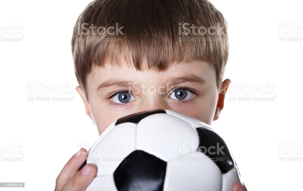 Young boy playing soccer royalty-free stock photo