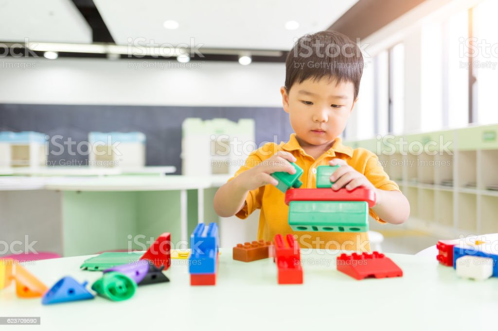 Young Boy Playing the Blocks stock photo