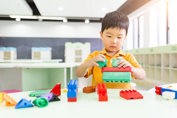 Young Boy Playing the Blocks - foto de stock