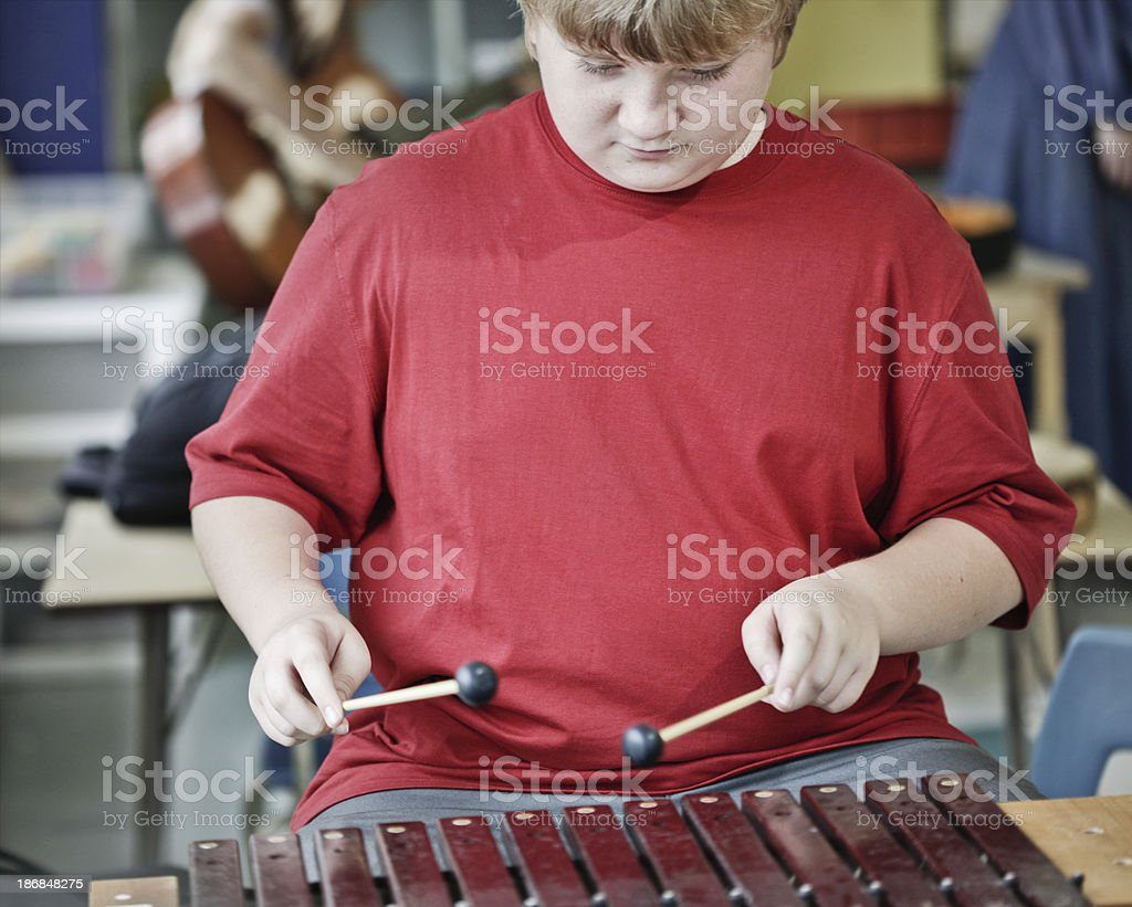 Young Boy Playing Xylophone stock photo