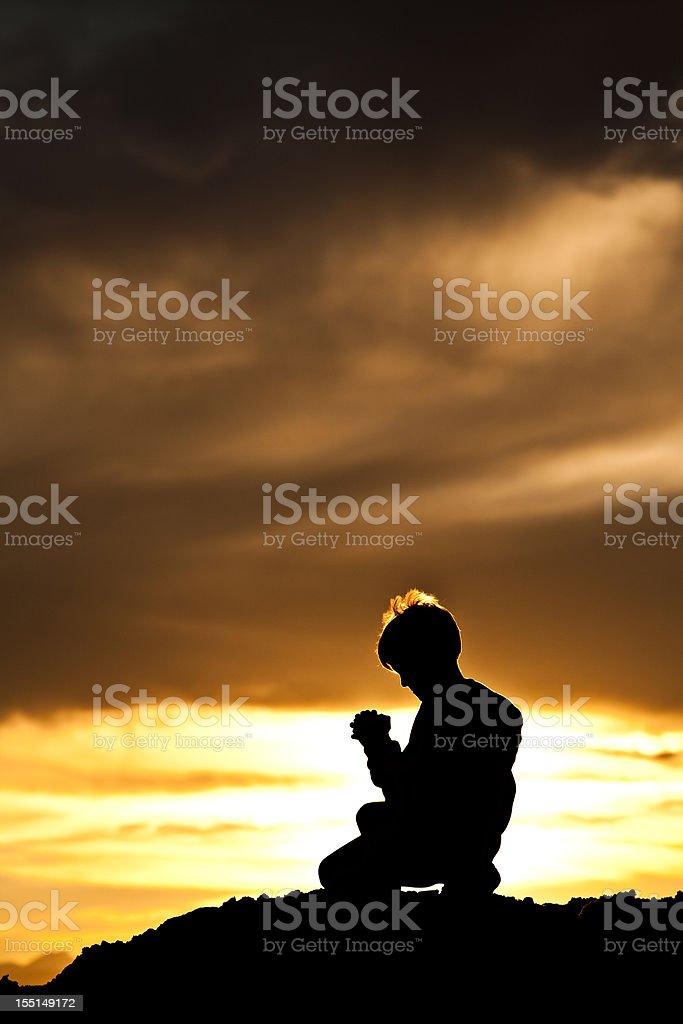 Young Boy Praying royalty-free stock photo