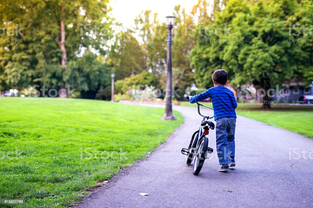 Young boy pushes a bicycle alone in a park stock photo