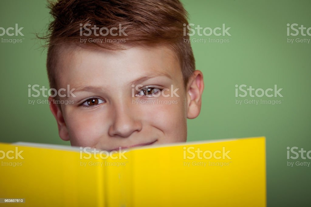Young Boy Reading a Book - Royalty-free Book Stock Photo