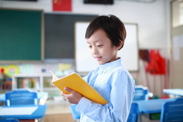 Young boy reading at his desk in a classroom stock photo