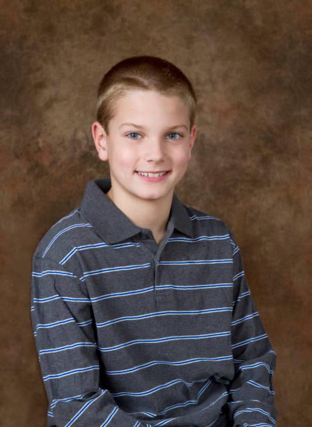Young Boy School / Yearbook Studio Portrait Age 10 stock photo