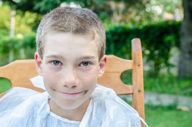 young boy showing short hair cut - marc short stock pictures, royalty-free photos & images