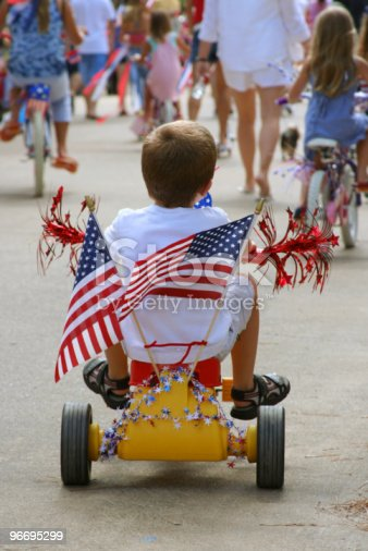 96695299 istock photo Young boy shows patriotism in 4th of July Parade 96695299
