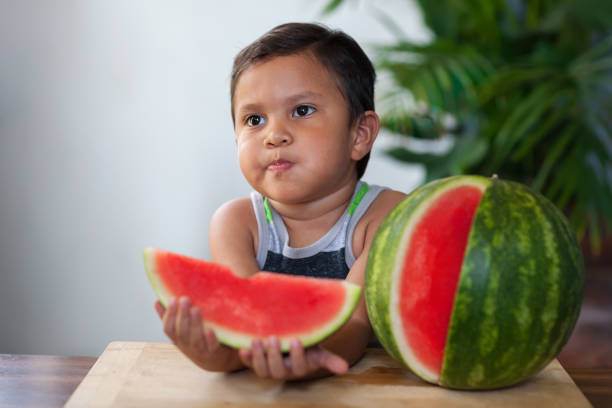 A young boy sitting in a patio, has taken a bite out of a slice of juicy seedless watermelon. stock photo