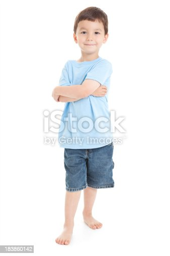 istock Young Boy Standing With Arms Crossed, White Background 183860142