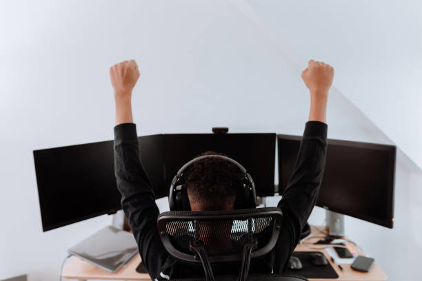 young boy streaming games stock photo
