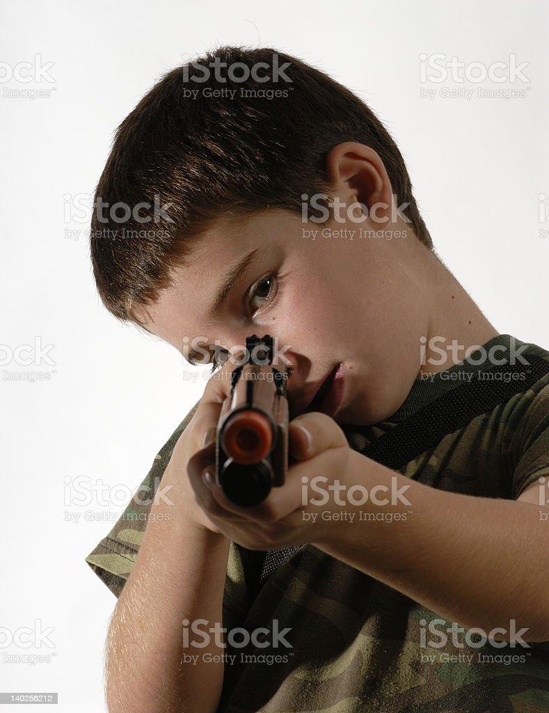 Young boy Toy gun royalty-free stock photo