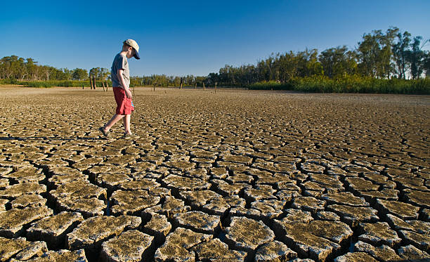 Young boy walking on a dry lake bed looking down A young boy walking over a dry lake bed - deep cracks result from evaporation. lake bed stock pictures, royalty-free photos & images