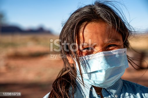A young Navajo boy living in Monument Valley Arizona wearing a mask to protect himself from getting Covid19