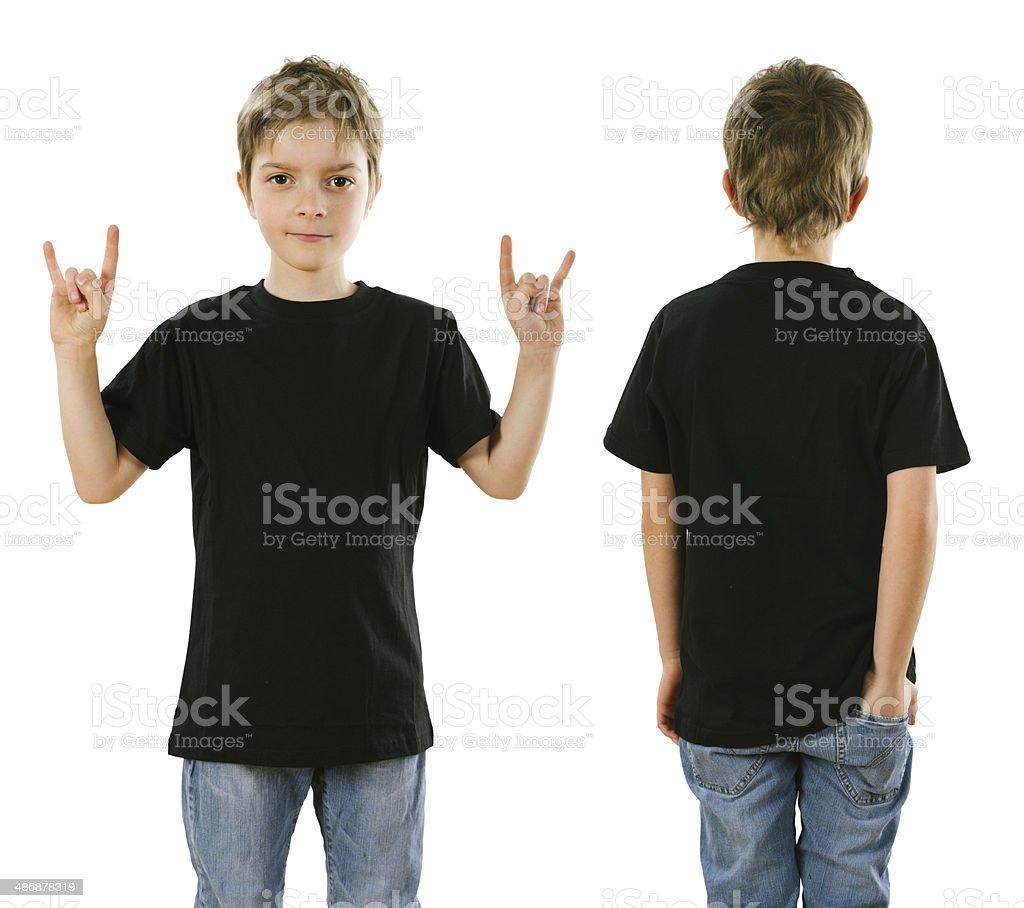 Young boy wearing blank black shirt stock photo