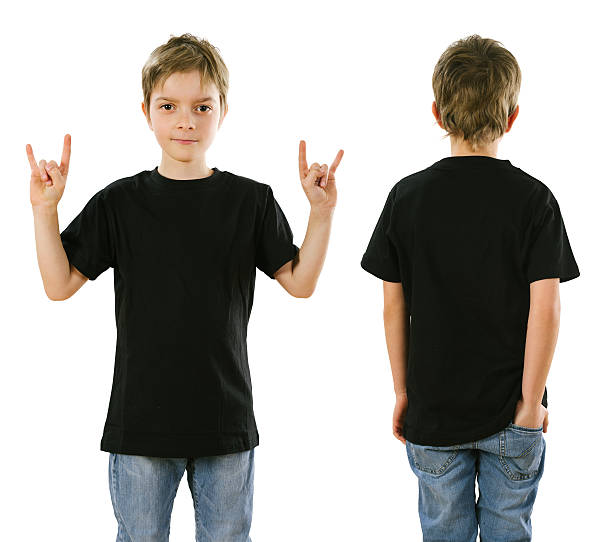 Young boy wearing blank black shirt Young boy with blank black t-shirt, front and back. Ready for your design or artwork. black shirt stock pictures, royalty-free photos & images