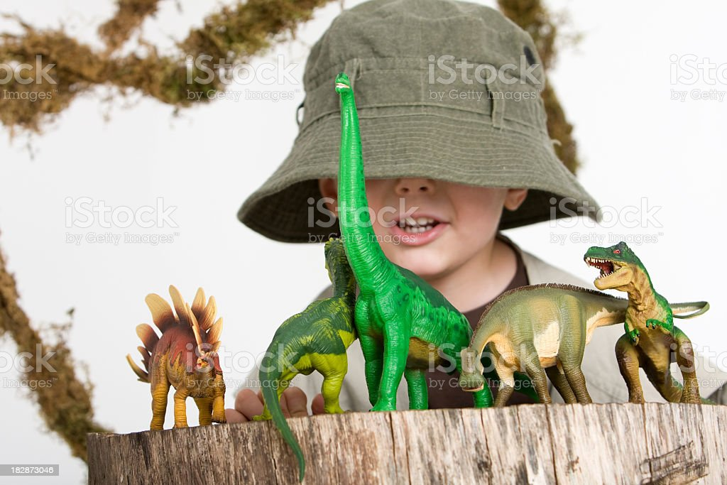 Young boy wearing safari outfit playing with toy dinosaurs  stock photo