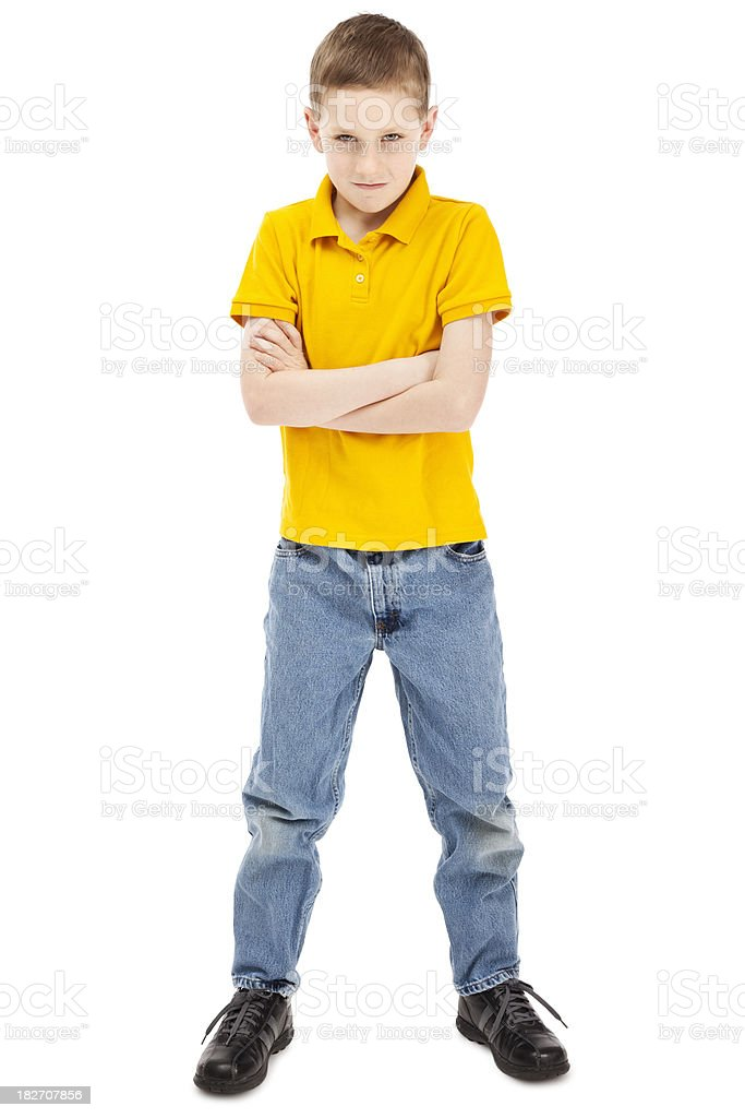 Young Boy with a Bad Attitude stock photo