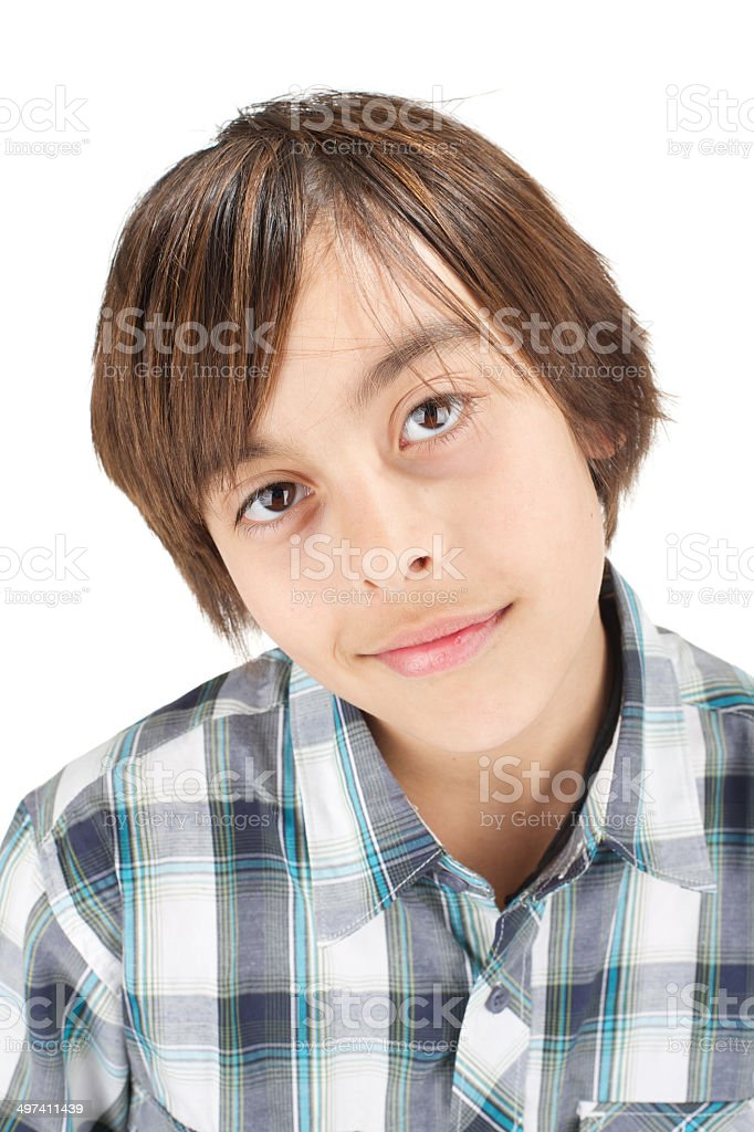 Young boy with blank expression isolated on white stock photo