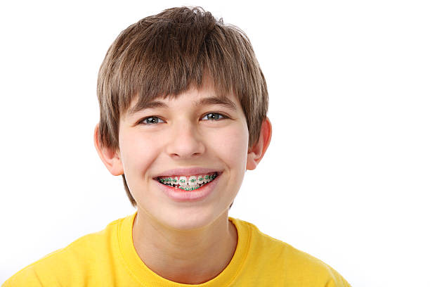 Young Boy With Braces stock photo