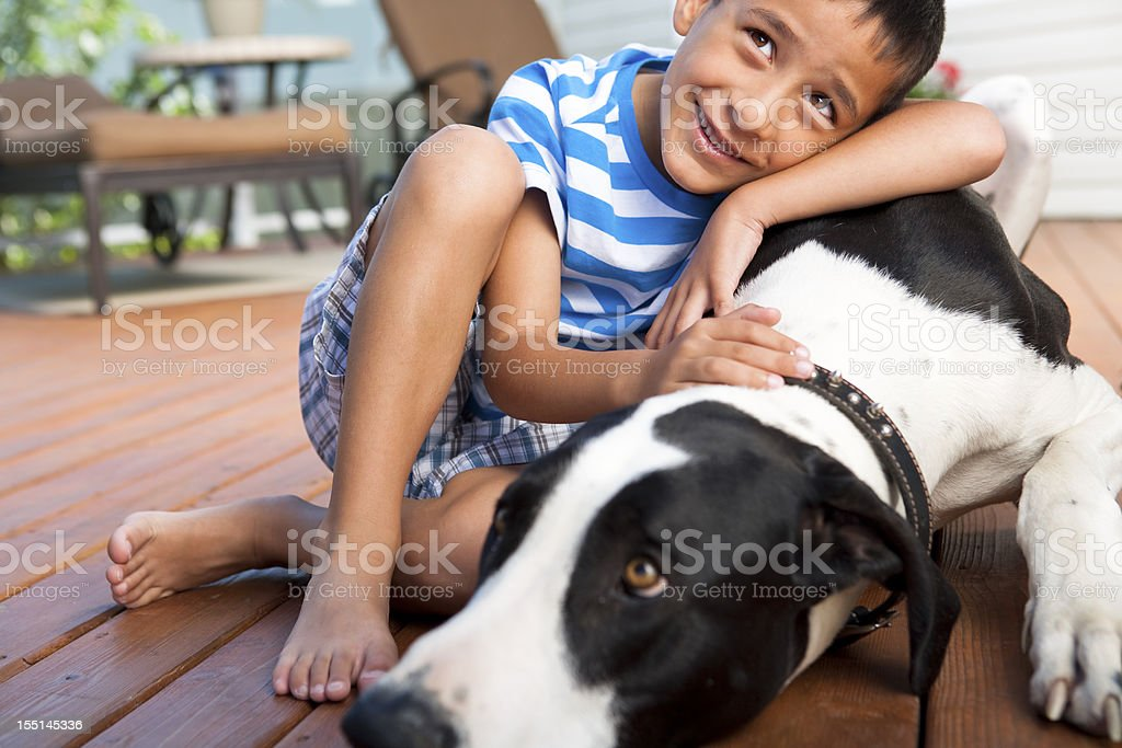 Young boy with dog stock photo