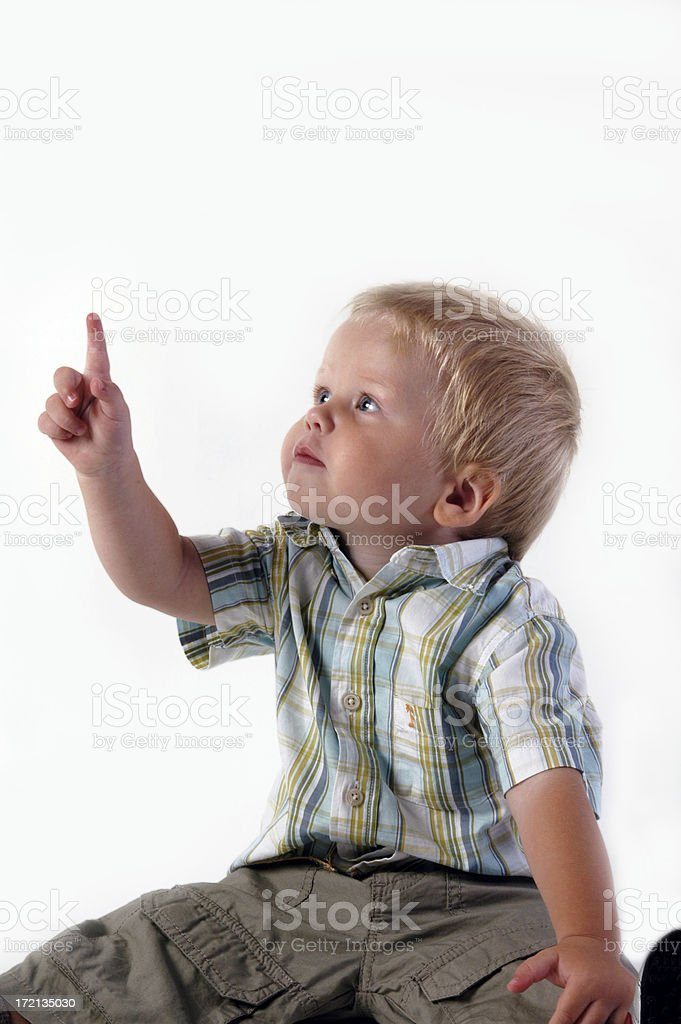 Young boy with forefinger up royalty-free stock photo