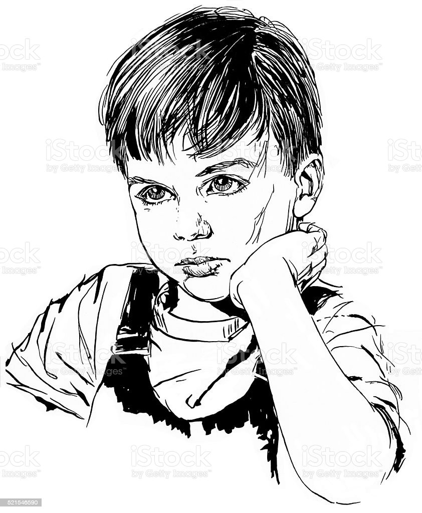 Young Boy with Hand on Chin stock photo