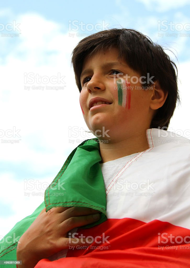 Young boy with painted flag stock photo